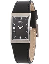 Boccia B3186-02 - Reloj de mujer de cuarzo, correa de piel color negro