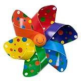 CIM Fahrradwindmühle - Moulin Velo 12cm - Rainbow Dots - Windrad Ø12cm - Windspiel für Alle Fahrräder, Roller, Dreiräder, Laufräder, Kinderwagen und Buggys