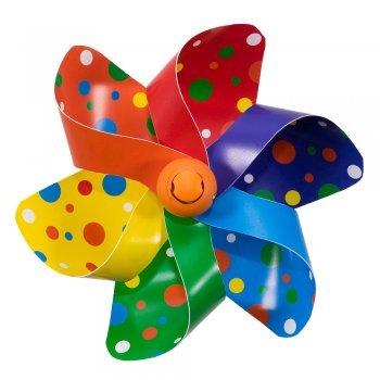 CIM Fahrrad-Windmühle - Moulin Velo 12cm - Rainbow Dots - Windrad Ø12cm - Windspiel für alle Fahrräder, Roller, Dreiräder, Laufräder, Kinderwagen und Buggys -