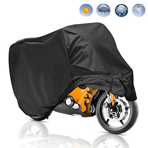 Funda para Moto, Migimi Cubierta de la Moto 190T Impermeable Funda Protector de Moto Scooter Anti Polvo UV - 245*105*125cm (Negro)