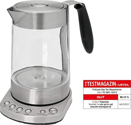 ProfiCook PC-WKS 1020 G 2in1 Glas- Tee- Wasserkocher, Warmhaltefunktion, Edelstahl-Teefilter, Elektr. Temperatureinstellung, Signalton bei Erreichen der vorgewählten Temperatur -