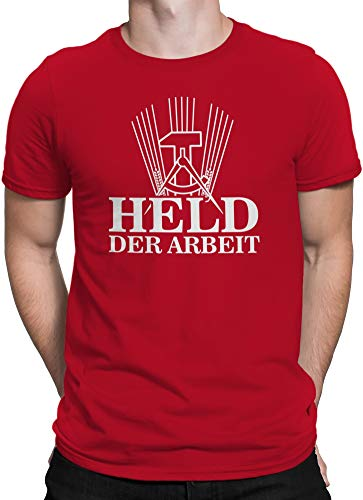 vanVerden Herren T-Shirt Held der Arbeit DDR Ossi Wessi Ost West Deutschland, Größe:4XL, Farbe:Rot