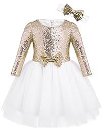 e1c0f9f5f61 iixpin Enfant Fille Robe de Mariage Soirée Robe de Princesse Robe à  Paillettes Casual Robe Demoiselle