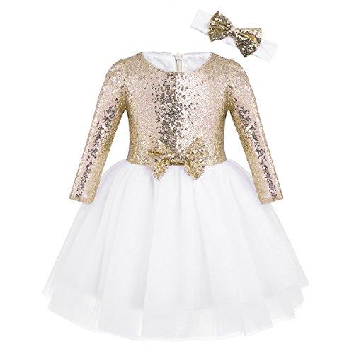 Tiaobug Mädchen Kleid festlich Langarm Prinzessin Blumenmädchenkleid Tüll Pailletten Taufkleid...