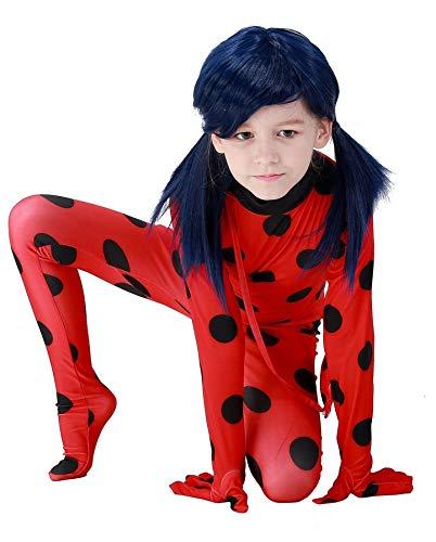 Macxy - Erwachsene Kinder Miraculous Marienkäfer mit Perücke Beutel-Kind-Mädchen-Marienkäfer Miraculous Kostüme Lady Bug Kostüm für Halloween Cosplay [S Kinder]