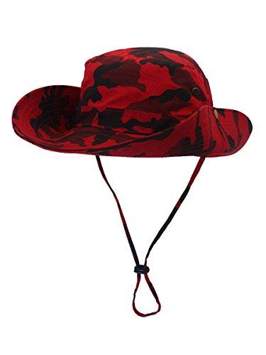 Outfly Damen Herren Outdoor Sonnenschutz Bucket Hut Fischerhut Baumwolle Two Way to Wear für Kopfumfang 55-62 cm Rot Camouflage