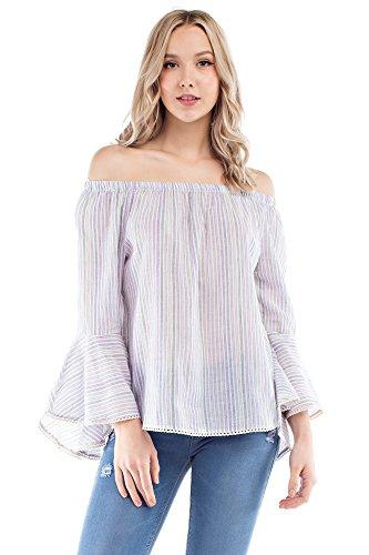 Solitaire Striped Bell Sleeve Off Shoulder (large, Soft Pink Multi) Jersey Knit Halter Top