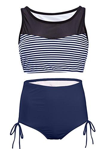 SWISSWELL Damen Hohe Taille Bikini-set Volant Vintage Badeanzug Push Up  high waist mit Bauchweg-Effekt Bandeau Swimsuit Bikinis mit Schleife Dunkel  Blau M 72cbae7887
