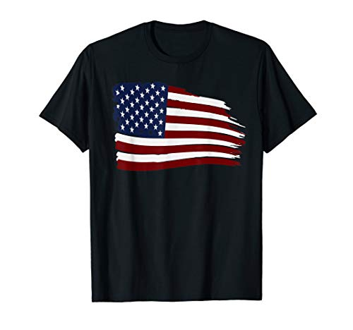 Distressed US USA FLAG Stars and Stripes American T-Shirt (Shirt Flag Damen American)
