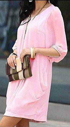 Frauen Kleider Tunika Blusenkleider Freizeitkleid Dreiviertelarm O Ausschnitt Durchsichtig Gummizug Lockere Uni-Farben Pink
