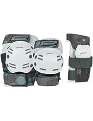 Powerslide - Kit de seguridad para adultos, 6 piezas, color blanco y negro blanco gris Talla:extra-large