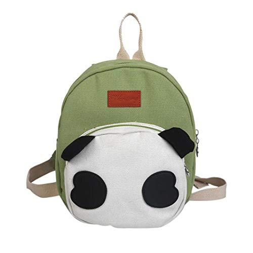 OdeJoy Kind Niedlich Panda Tier Rucksack Drucken Karikatur Schulranzen Kleinkind Schuletasche Schulranzen Mode Reißverschluss Backpack Cute Farbabstimmung Students Bags(Grün,1 PC)