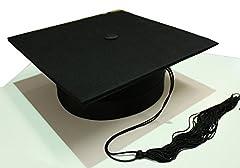Idea Regalo - Tocco cappello da laureato lusso in tessuto anima rigida laurea nero