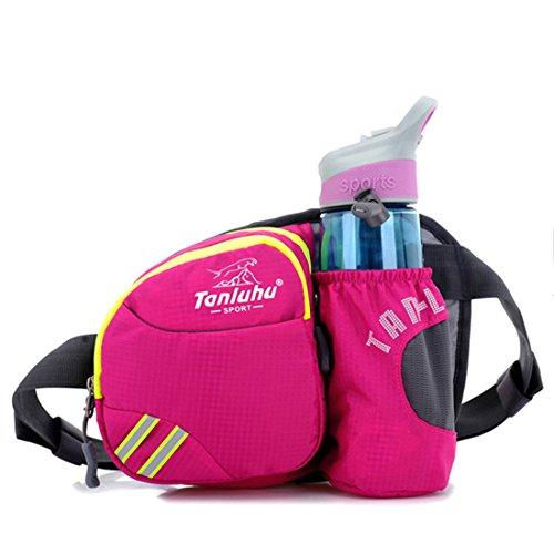 Ausero Multi-Function Gürteltasche Bauchtasche Trinken Flache Taille Tasche mit flaschehalter Unisex zum Sport Aufstieg Reisen Outdoor Farbic Rosa