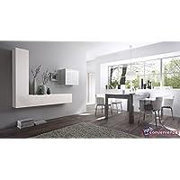 Web Convenienza Cube 6 B Bianco Lucido Parete Attrezzata Soggiorno Moderna
