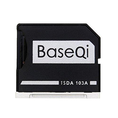 BaseQi Ninja Stealth Drive 103A Adattatore Micro SD Alluminio argento edge per MacBook Air 13' e MacBook Pro NON Retina 13' e MacBook Pro NON Retina 15'