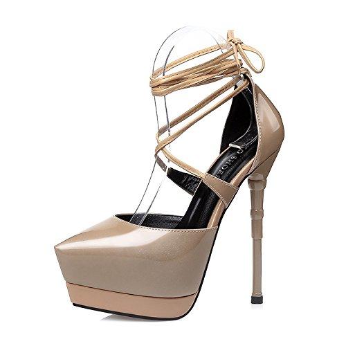 FLYRCX Unione sexy bendaggio impermeabile ha sottolineato stilettos ladies scarpe di cuoio. B