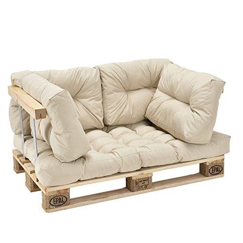 [en.casa] Palettenkissen - 5er Set - Sitzpolster + Rückenkissen [Creme] Paletten-Sofa in/Outdoor