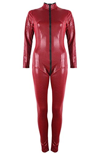 (AWSAYS Damen Alles In Einem Lackleder All-Inclusive-Bar Mit ReißVerschluss Latex Fischschuppen Performance-Kleidung, Red)