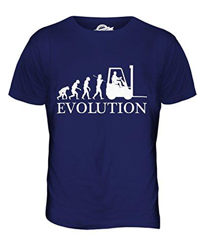 CandyMix Gabelstapler Evolution Des Menschen Herren T Shirt Navy Blau