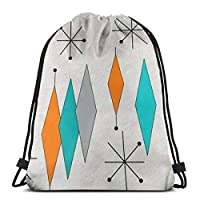 """Kailey hello Mid Century Modern Diamond Pattern 3D Print Drawstring Backpack Rucksack Shoulder Bags Gym Bag For Adult 16.9""""X14"""""""