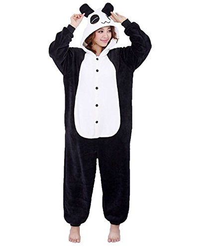 ABYED® Jumpsuit Tier Karton Fasching Halloween Kostüm Sleepsuit Cosplay Fleece-Overall Pyjama Schlafanzug Erwachsene Unisex Lounge,Erwachsene Größe S - für Höhe 150-158cm (Für Jungen Kostüme Panda)