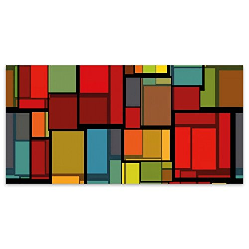 Rote Quadrate abstrakte Acryl Glas Wand Kunst -120cm x 60cm