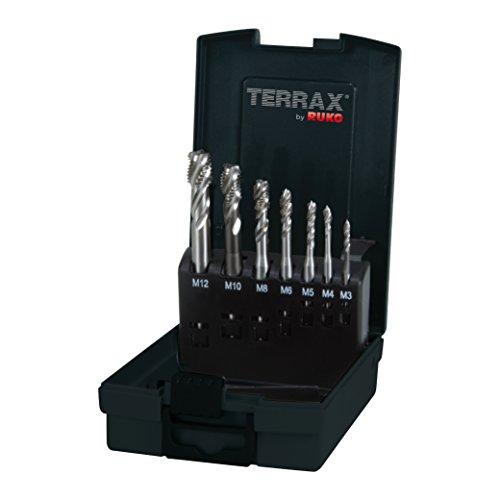TERRAX by RUKO Maschinengewindebohrer-Satz M DIN 371 / 376 Form C / 35° RSP HSS in Kunststoffkassette
