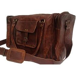 """True Grit Leather - Bolso vintage de cuero """"Original"""" para viajes color marrón para hombres. marrón 24 pulgadas"""