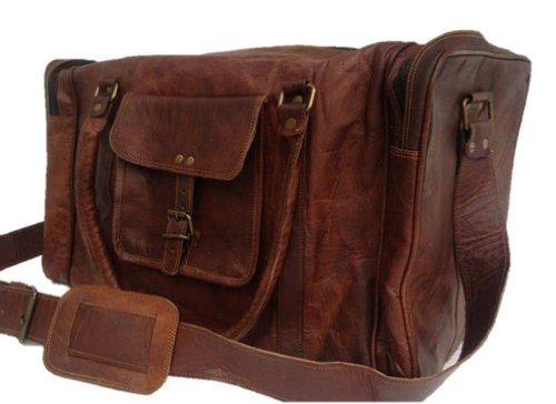 """True Grit Leather- """"originale vintage marrone da uomo in pelle borsone borsa da viaggio bagagli Valigia brown 61 cm"""