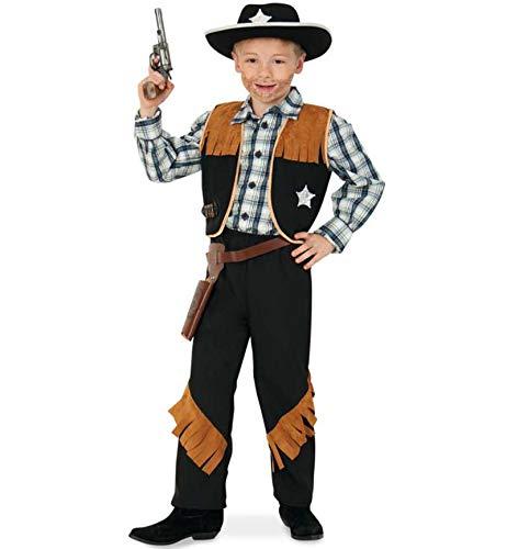 KarnevalsTeufel Kinderkostüm-Set Sheriff, 5-TLG. Weste, Hose, Cowboyhut, Revolvergürtel und Spielzeug-Revolver | Größen 104 - 152 | Cowboy, Wilder Westen, Karneval (128) -
