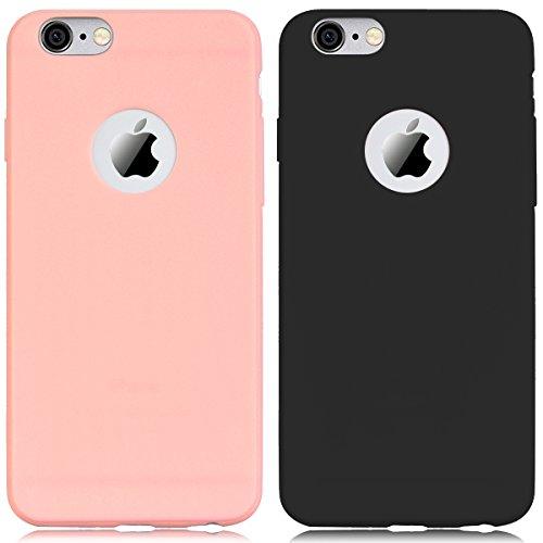 2 x Coque, Yokata Coque iPhone 6 Coque iPhone 6s Etui Silicone Souple Swag Gel Mat Anti-Fingerprint Case Ultra Fine Mince Housse Antichoc Protection Coque pour iPhone 6 iPhone 6s Motif - Noir + Rose