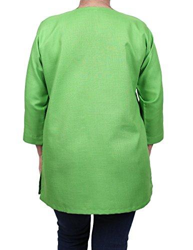 ShalinIndia Indische Designer-Kurti-Tunika für Frauen �?Luxuriöse Kurtis �?Baumwoll- & Viskosetops für Frauen Grün