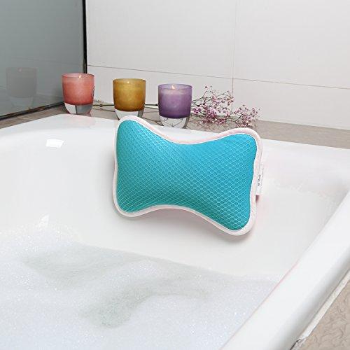 Badewannenkissen mit 2 Saugnäpfen Nackenkissen aus Polyester Schnelles Trocknen Einfache Reinigung - Komfort Badekissen,Blau