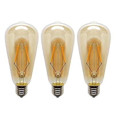 KJLARS LED Light Bulb 2W Edison Vintage LED Filament Bulb, Warm White 2300K E27 ST64 LED Decorative Light Bulbs by KJLARS