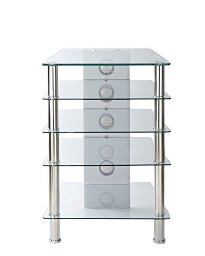 Hi-Fi Rack AV-Rack 5 Regal Display-Einheit Klar-Glas - 500mm tief um AV Einheiten zu halten - Tiefe Rack-einheiten