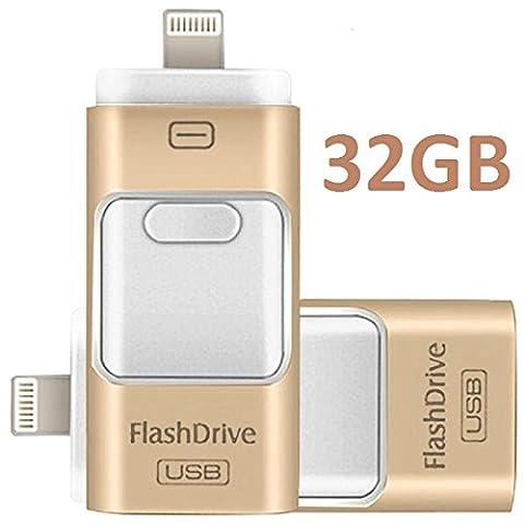 3en Multi Fonctions USB mobiles iPhone Flash Drive bâton de mémoire de stockage externe avec connecteur Lightning, compatible Weth PC iOS Android Système Doré (32Go)