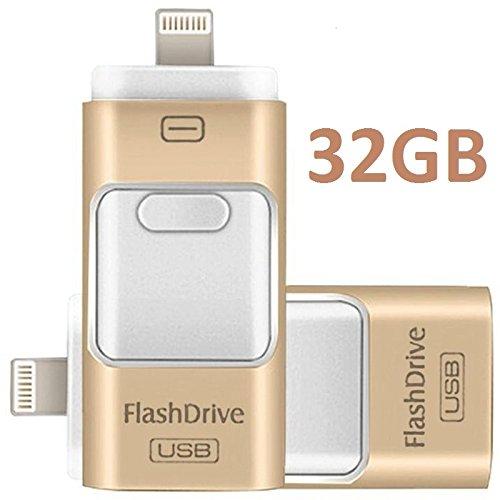 3 en 1 para iPhone con USB, unidad flash y memory stick para almacenamiento externo con conector Lightning compatible con PC, iOS y Android (dorado de 32 GB)