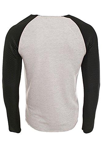 Redbridge Designer Herren Leder Longsleeve Leather Sleeve Men´s Pullover R-41362 Grau