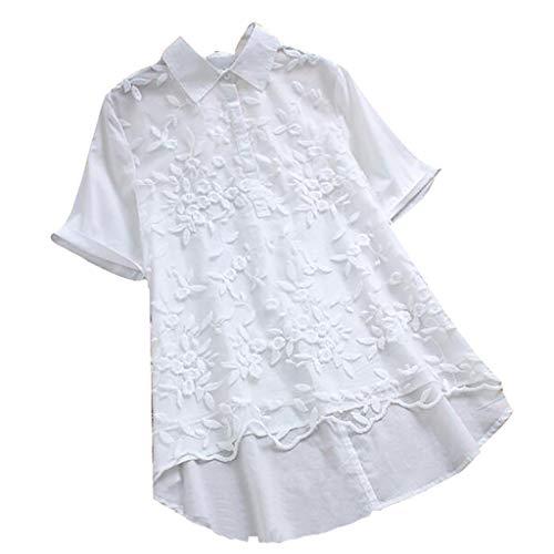 COZOCO 2019 Bluse Frauen Vintage Lace Floral Revers Kurzarm Plus Size Top T-Shirt Bluse Oberteile Weiß 2XL