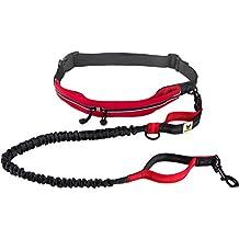 Correa con cinturón manos libres para perros medianos y grandes | Hundefreund Correa elástica de 120 a 180 cm