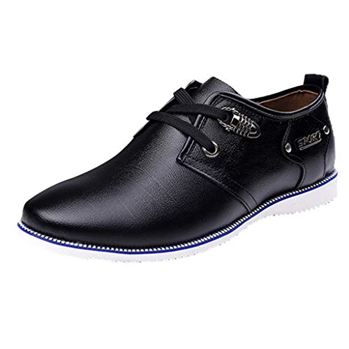 KonJin Leather Shoes for Men Oxford Casual Breathable Round Head Lace-Up Wild Leather Shoes Eye Steel Toe Boot