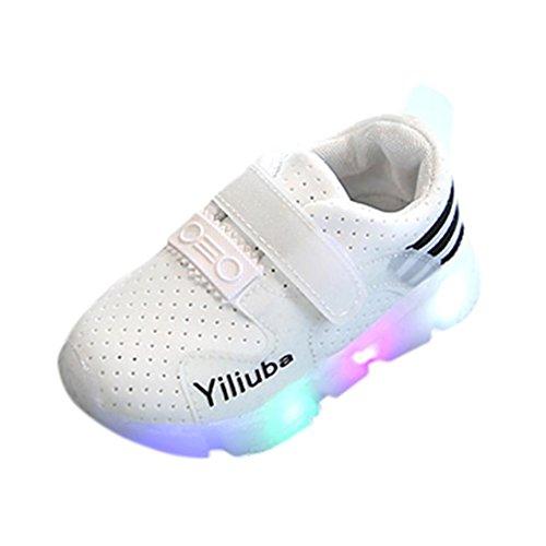 FNKDOR Baby Kinderschuhe mit Blinklicht, Kinder Jungen Mädchen Mode Sneaker Leicht Schuhe(EU27/CN28 Fußlänge:16.2CM,Weiß)