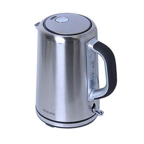 Brabantia BBEK1001 - Wasserkocher 1,7L mit Kalk Wasserfilter, Elektrischer Wasserkessel mit Automatische Abschaltung,Edelstahl