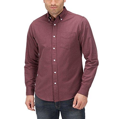 Charles Wilson Langärmliges Oxford Freizeithemd (Large, Weinrot) (Hemd Oxford Herren)