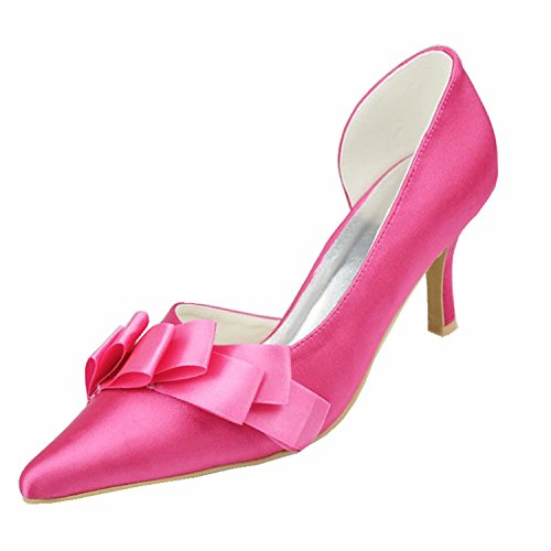 Ruched Platform Pump (Kevin Fashion MZ1199 Ladies Ruched Pink Satin Bridal Wedding Formal Party Evening Prom Pumps Shoes 10 UK)