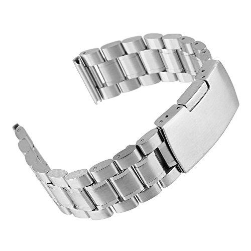 Beauty7- 22mm Breit Silber Edelstahl Uhrenarmband Uhrenarmbänder mit Faltschließe Metall Uhr Armband