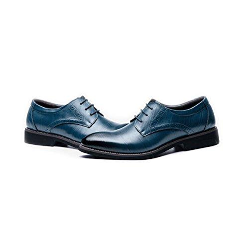 LYZGF Uomini Signori Business Casual Fashion Four Seasons Laces Scarpe In Pelle Blue