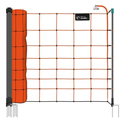 Voss.farming Filet électrifiable de clôture pour Moutons farmNET, 50 m, Hauteur 90 cm, 14 piquets, 2 Pointes, Orange