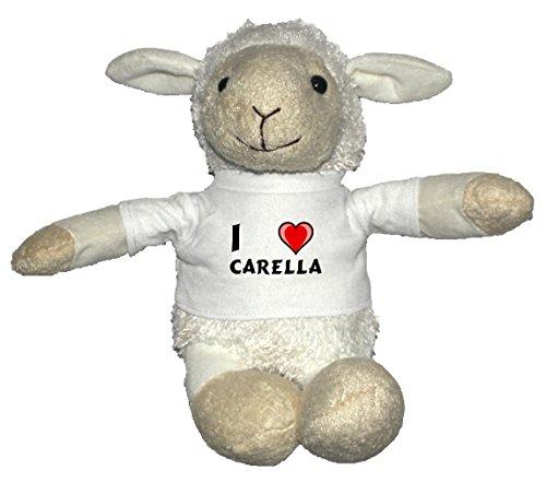 Preisvergleich Produktbild Weiß Schaf Plüschtier mit T-shirt mit Aufschrift Ich liebe Carella (Vorname/Zuname/Spitzname)